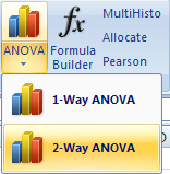 Excel 2007 buttons for the ANOVA commands