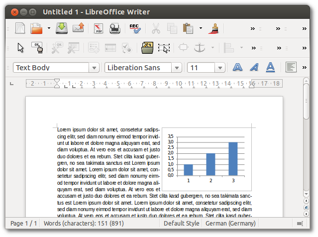 Excel chart embedded in Writer document