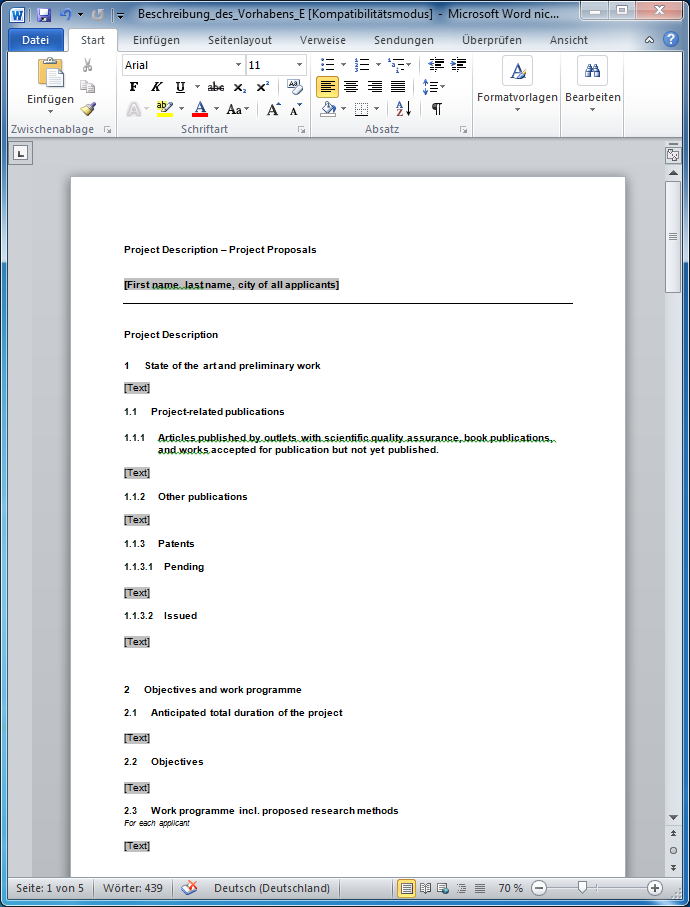 Daniels XL Toolbox Project template for DFG proposals – Microsoft Word Proposal Template