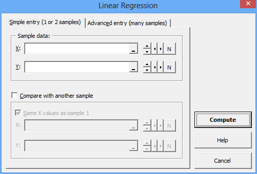Simple regression form