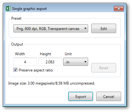 Single high-resolution export