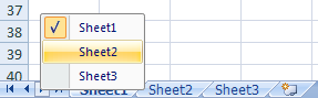 Excel's built-in sheet menu